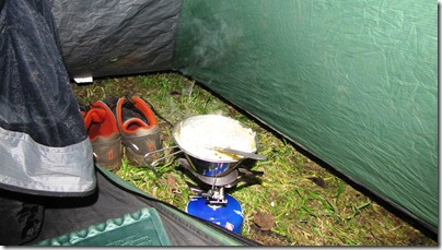 Cooking in the Tent Vestibule