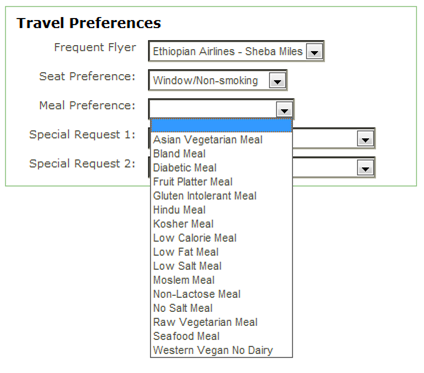 Meal Preferences with Ethiopian Airlines