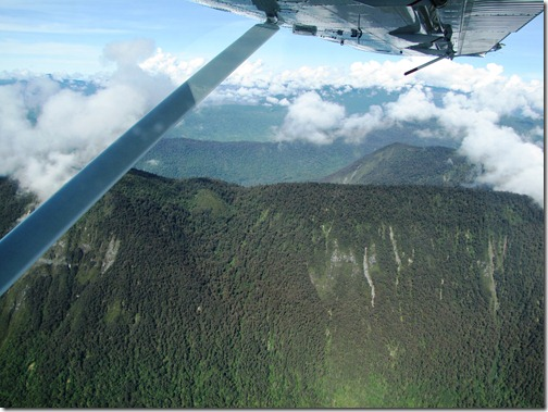 Flying over Star Mountain Range Papua